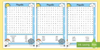 Pogodowe wykreślanki - pogoda, zjawiska, atmosferyczne, deszcz, śnieg, słońce, chmury, zachmurzenie, opady, wykreślanki