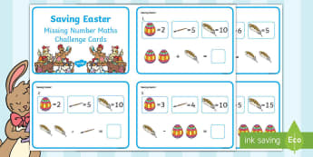 Saving Easter Missing Number Maths Challenge Cards - Children's Books, story, book, Easter, save, saving, Easter Bunny, bunny, bunnies, stories, chick,