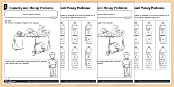 School Fair Themed Difference Problems Differentiated Activity Sheets - Count on, count back, finding gaps, reasoning, subtract, subtraction problems, complement of a set,