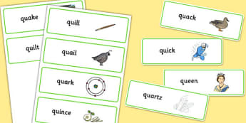 QU Word Cards - speech sounds, phonology, articulation, speech therapy, cluster reduction