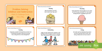 Week 22 – Version 2 - Problem Solving Challenge Cards - Word Problems, Addition, Subtraction, Challenge, Solving, RUDE,Irish