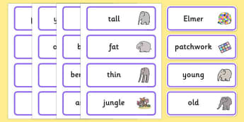 Word Cards to Support Teaching on Elmer - Elmer, Elmer the elephant, resources, Elmer story, patchwork elephant, PSHE, PSE, David McKee, colours, patterns, story, story book, story book resources, story sequencing, story resources, Word cards, Word C