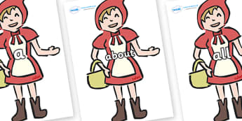 100 High Frequency Words on Little Red Riding Hood - High frequency words, hfw, DfES Letters and Sounds, Letters and Sounds, display words