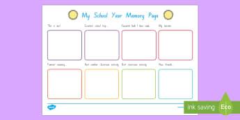 School Year Memory Write Up Worksheet