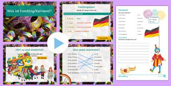 Karneval PowerPoint German - Karneval, Fasching, Quiz, Activity Sheet, Facts,German