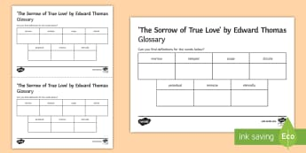 'The Sorrow of True Love' by Edward Thomas Glossary Activity - Poetry, GCSE poetry, First World War Poetry, First World War Poets, OCR Anthology, Towards A World U