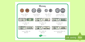 US Currency Mat - money, coins, bills, penny, dime, nickel, quarter, dollar, american money