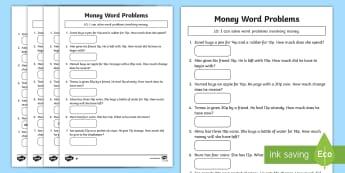 Money Word Problems Activity Sheet - Maths, money, Y2, Year 2, word problems, change, worksheet