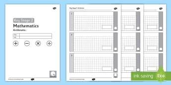 Key Stage 2 Maths Blank Arithmetic Assessment Pack - KS2 Editable Maths Arithmetic Assessment - ks2, editable, maths, assessment, arithmetic,arithmatic,a