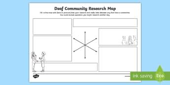 Deaf Community Research Map - deaf awareness, deaf community, deaf culture, deaf role models, deaf world, british deaf association