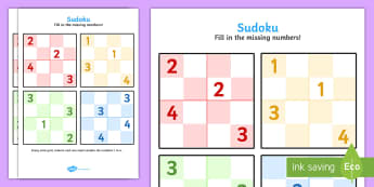 Sudoku Sheets - sudoku sheets, sudoku, sheets, game, activity, numbers, maths, missing numbers, fill in, row, column