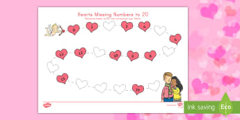 Valentine's Day Hearts Missing Numbers to 20 US English/Spanish (Latin) - Valentine's Day,  Feb 14th, love, cupid, hearts, valentine, missing numbers, numbers to 20, number