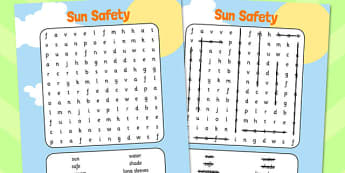 Sun Safety Wordsearch - sun, safety, wordsearch, word search