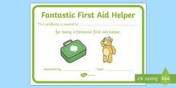 Fantastic First Aid Helper Certificate - first aid, helper, achievement, certificate, breaktime helper,Irish