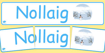 Nollaig Display Banner Gaeilge - gaeilge, year, months of the year, december