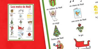 Les mots de Noël Display Poster French - french, christmas, terms, display, poster