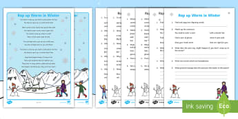 KS1 Rap up Warm in the Winter Poetry Comprehension Differentiated Activity Sheet - worksheet, winter poetry, comprehension on poems, poetry reading comprehension, winter comprehension