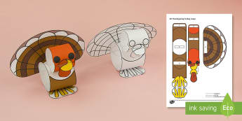 Simple 3D Paper Craft - Thanksgiving Turkey Loops Project