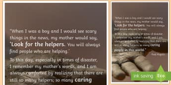 Look For the Helpers Quote Poster - trauma, traumatic events, poster, display, Fred Rogers, quote