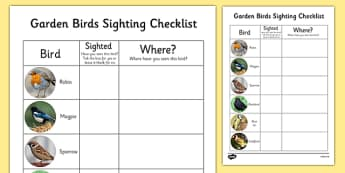 Garden Birds Sighting Checklist - garden, birds, sighting, checklist