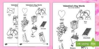 Valentine's Day Words Colouring Sheets English/Portuguese - Valentines Day Words Colouring Sheets - valetines, colouring , colering, colourng, Valantines, valin