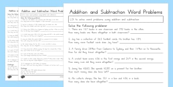 Addition and Subtraction Word Problems Worksheet Year 3 - australia