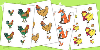 Chicken Licken Size Ordering - size, shape, order, stories, books