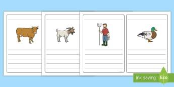Farm Simple Sentence KS1 Writing Frames - farms, farmer, animals, farming, sentences, sentence, EYFS, KS1