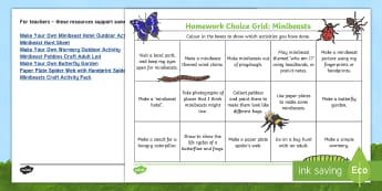 Active Homework Grid - Minibeasts Themed Home Learning Challenges - Homework, home learning, active homework, outdoor learning, personalisation and choice, choosing, ac