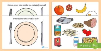 Actividad de clasificar comida saludable - salud, personal, comer bien, prevención enfermedad, vivir, vida