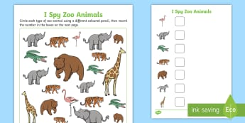 I Spy Zoo Animals Activity Sheet - I spy, animals, activity, activity sheet, zoo, zoo animal, zoo animals