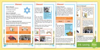 KS1 Shavuot Differentiated Fact File - Factfile, Reading, English, Literacy, Jewish, Jew, Judaism, King David, Star of David, Israel Flag,