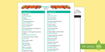 Dragons Book List - EYFS, Early Years, Literacy, reading, book corner, reading area, fiction, non-fiction, medieval, cas