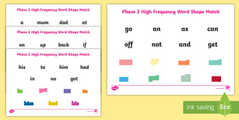 Phase 2 High Frequency Words Shape Match  Activity Sheet - Literacy, English, Key words, Visual discrimination, Special Educational Needs, Dyslexia, worksheet