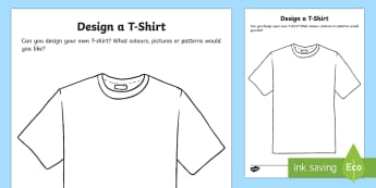 T-Shirt Design Activity Sheet - EYFS, Early Years, KS1, Key Stage 1, Clothes, Clothing, Design Your Own, T-Shirt, Shirt, PE, Sports