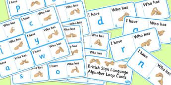British Sign Language Alphabet Loop Card Activity - loop cards
