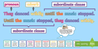 Subordinating Conjunctions KS2: Features of Sentences Display Pack - subordinating conjunctions KS2, what is a subordinating conjunction, conjunction, subordination, sub