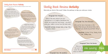 Book Review Activity to Support Teaching On 'Skellig' by David Almond - Skellig, David Almond, Michael, Mina, KS3 Literature, KS3 Novel, Low Ability Reading, Year 7 Novel,