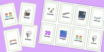 Two Syllable TW Playing Cards - sen, sound, special educational needs, tw, playing cards