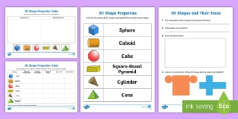 Properties Of 3D Shapes Activity Sheets - 3d, shapes, activity, worksheet