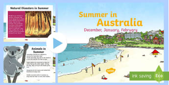 3-6 Summer in Australia PowerPoint - Seasons, Australia, Summer, weather, information