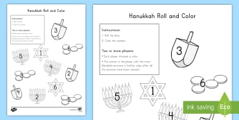 Hanukkah Roll and Color Activity Sheet - Number Recognition, Independent Center, Number Skills, Hands-on Math activity, Jewish Holiday, works