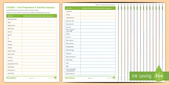 Eduqas Food Preparation & Nutrition Glossary of Terms Activity Sheets - Revision, Food Technology, Key Terms, Key Words, Definitions, worksheets