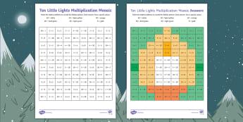 Ten Little Lights Multiplication Maths Mosaic Activity Sheets - Twinkl Originals, Fiction, winter, christmas, snow, cold, KS1, Calculation, Maths Operations, worksh