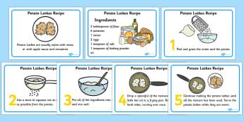 Potato Latkes Recipes Cards - potato latkes, latkes, recipe, card