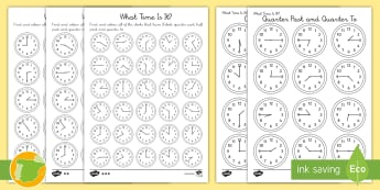 ¿Qué hora es? Pack de recursos - tiempo, en punto, y media, y cuarto, menos cuarto, que hora es, di la hora, reloj, números, horas,