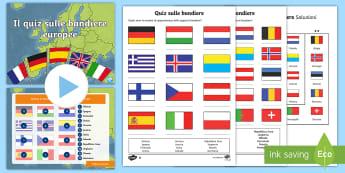 Quiz sulle bandiere europee pacco Attività - geografia, mappa, continenti, nazioni, italiano, italian, materiale, scolastico