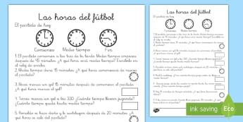 Ficha de actividad: La hora - Fútbol - fútbol, hora, tiempo, reloj, relojes, analógico, minutos, horas, minuto, sumas, sumar, añadir, de