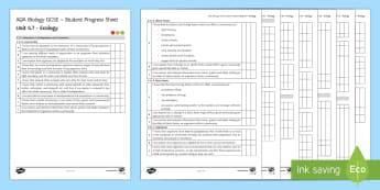 AQA Biology Unit 4.7 Ecology Student Progress Sheet - Student Progress Sheets, AQA, RAG sheet, Unit 4.7 Ecology, Biology
