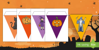 Halloween Display Bunting English/Mandarin Chinese - Halloween Bunting - Halloween Bunting, bunting, flag, Halloween, pumpkin , witch, bat, scary, black
